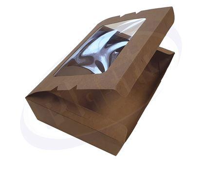 Снимка на Картонена кутия К-1200ВW с прозорец КРАФТ 200/140/50 4х50бр/каш
